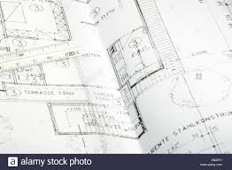 Blue Print Of House Cad Blueprint Of A House Ruler Lying On The Plan Stock Photo
