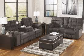 leona chenille reclining sofa with drop down table
