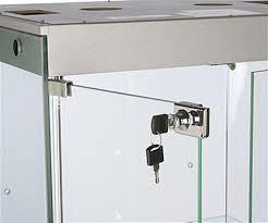 Display Cabinet Doors Glass Cabinets W Halogen Lighting Silver Mdf