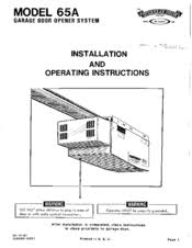 Overhead Door Manual Overhead Door 65a Manuals