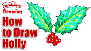 how to draw christmas holly youtube