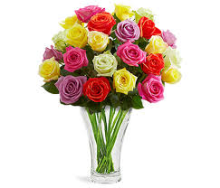 multicolor roses nachtmann calypso vase multicolor roses bouquet vase included