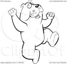 cartoon clipart of a black and white excited bulldog jumping