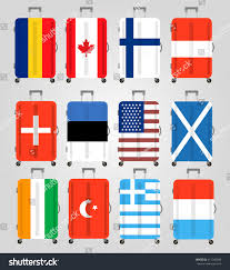 Best Country Flags Suitcase Icons Set 12 Suitcases Flags Stock Vector 411260035