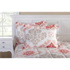 Comforters From Walmart Mainstays Coral Damask Bed In A Bag Bedding Set Walmart Com