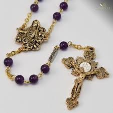 gold rosary our of fatima rosary antique gold plated purple amethyst