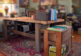 Wood Office Desk Rustic Wood Office Desk And File Storage Abodeacious