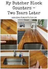 how to install butcher block countertops my butcher block countertops two years later domestic imperfection