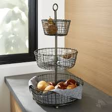 Crate And Barrel Home Decor Bendt 2 Tier Copper Fruit Basket Crate And Barrel