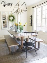 Best  Farmhouse Table With Bench Ideas On Pinterest Kitchen - Farm dining room tables