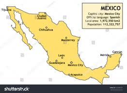 map of mexico cities outline map mexico major cities basic stock vector 126999707