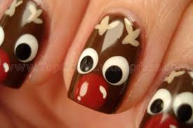 on the 8th day of christmas reindeer nail design