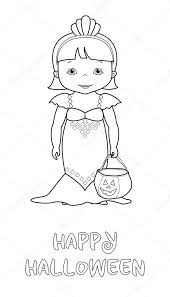 halloween coloring cute mermaid u2014 stock vector 127145012