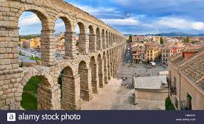 roman aqueduct bridge segovia spain unesco stock photo royalty