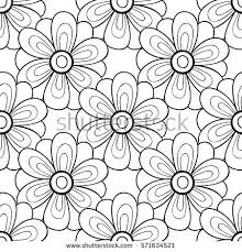Flower Design For Scrapbook Vector Monochrome Flower Seamless Pattern Cute Stock Vector