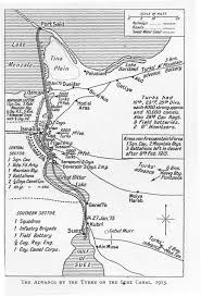 advance by the turks on the suez canal 1915 map great war
