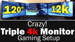 Gaming Desk For 3 Monitors epic triple 4k monitor gaming setup 11520x2160 resolution youtube