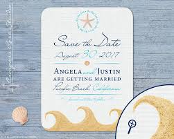 nautical save the date wedding save the date by the sea nautical sand shells