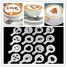 16pcs coffee stencil filter coffee maker cappuccino coffee barista