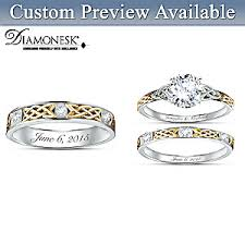Custom Wedding Rings by Irish Trinity Knot His U0026 Hers Personalized Wedding Ring Set