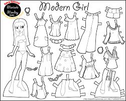 Printable Paper Dolls | marisole monday modern girl in black white dolls 50th and