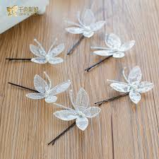 gorgeous white butterfly hair hairgrips pearl jewelry