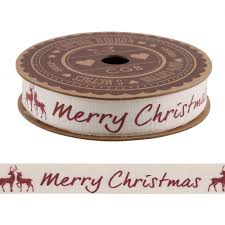 cotton ribbon merry christmas ribbon with stag cotton ribbon 5m craft wrapping