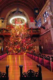 christmas tree in the banquet room inside biltmore house in