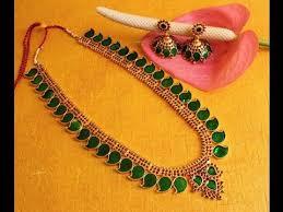 beautiful kerala style green palakka gold necklace set