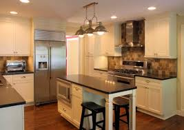 quartz countertops long narrow kitchen island lighting flooring