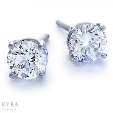 diamond ear studs certified four prong diamond ear studs