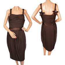 vintage 1950s christian dior cocktail party dress brown silk