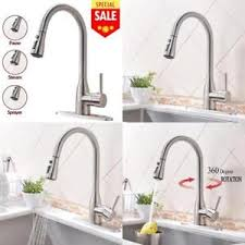 kitchen sink faucet deck plate single handle pull down sprayer brushed nickel kitchen sink faucet