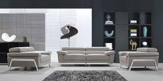 Modern Grey Leather Sofa Set - Encore furniture