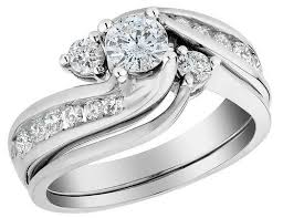engagement rings and wedding band sets diamond interlocking engagement ring and wedding band set 1 0