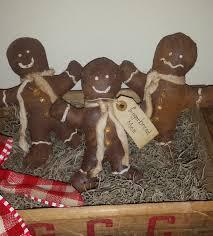 handmade primitive gingerbread men ornies tucks bowl