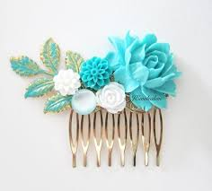 Shabby Chic Wedding Accessories by Turquoise Hair Comb Blue Gold Wedding Headpiece Sea Foam