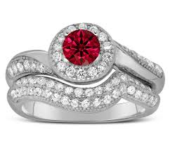 red star rings images Antique designer 2 carat red ruby and diamond bridal ring set for jpg