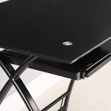 Large L Desk Amazon Com Walker Edison Premium Soreno Glass Corner Computer