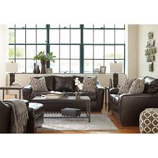 Living Room With Brown Leather Sofa by Contemporary Faux Leather Sofa With Tufted Seat Cushions By