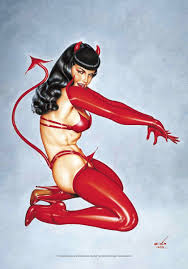 bettie red devil fabric poster