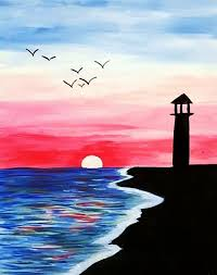 paintings to paint sunset beginner pencil and in color sunset beginner