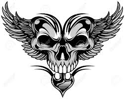 black white artistic skull with wings royalty free cliparts