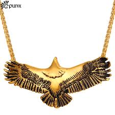 animal gold necklace images Flying eagle men necklace pendant animal gold pendant with cuban jpg