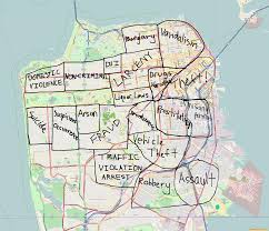 San Francisco Area Map by Most Frequented Crimes In San Francisco Normalized By Neighborhood