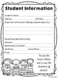 editable student information sheet parent contact log freebie by
