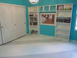 painting concrete floor with white and gray color in home library