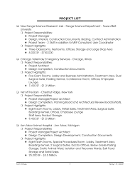 Sample Project List For Resume by Aggregate List Of Professional Projects