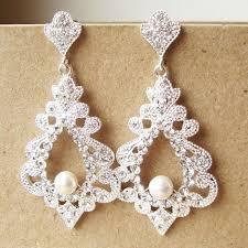Chandelier Earrings Etsy Bridal Chandelier Earrings Statement Wedding Earrings Vintage
