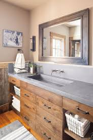 refined rustic bathroom love this vanity and mirror interiors